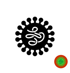 virus black icon with worm like structure inside vector image