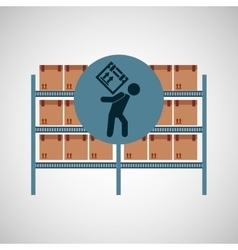 warehouse box worker design icon vector image