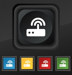 Wi fi router icon symbol Set of five colorful vector image