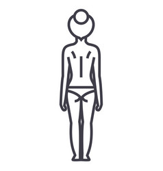 woman body back line icon sign vector image