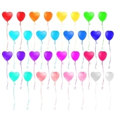 Set of heart shaped colorful balloons vector