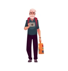 Senior old man travelling with backpack suitcase vector