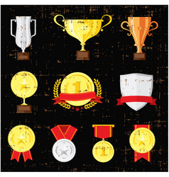 different cups set on black background golden vector image