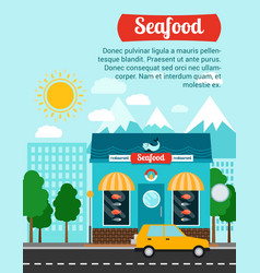 Seafood advertising banner with shop building vector
