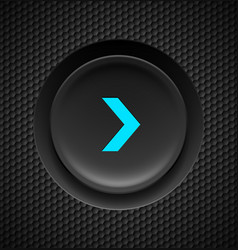 Black button with blue fast forward sign on vector