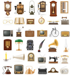 big set of much objects retro old vintage icons vector image