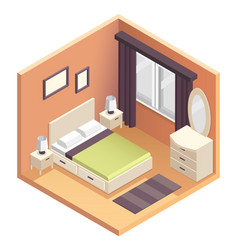 Isometric bedroom interior design vector