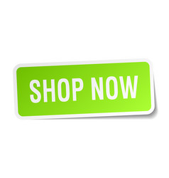 Shop now square sticker on white vector