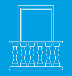 Balcony with blind window icon outline style vector
