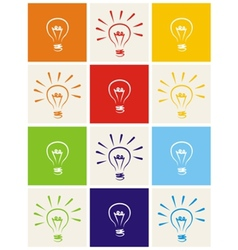 Light bulb icon set - hand drawn colorful sign vector image