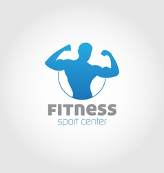 Fitness sport center logo blue vector