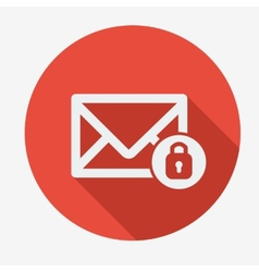Mail icon envelope with padlock flat design vector