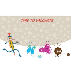 Syringe Run to Vaccinate Germ Characters vector image