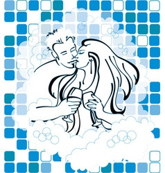 Man and woman in love holding wine in bathtub vector