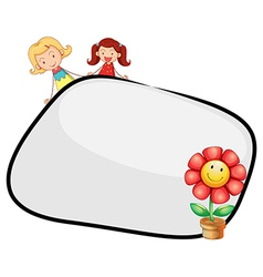 An empty template with two girls and a flower vector image