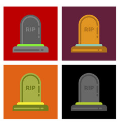 Assembly flat icons halloween grave vector