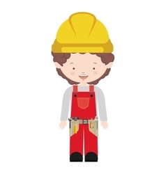 Avatar worker with toolkit and curly hair vector