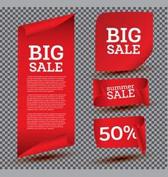 big sale banner set on transparent background vector image