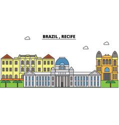 brazil recife outline skyline brazilian flat vector image vector image