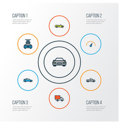 Car colorful outline icons set collection of auto vector