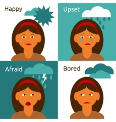 Cartoon woman character emotions icons composition vector