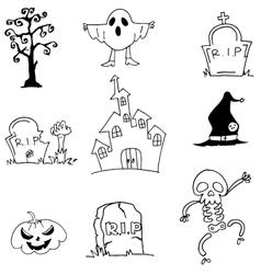 Castle ghost pumpkins tomb doodle halloween vector