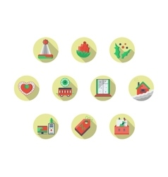 Christmas theme round flat color icons set vector image vector image