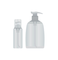Cosmetic plastic bottle with dispenser pump vector