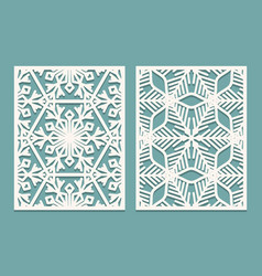 die and laser cut ornamental panels with vector image vector image