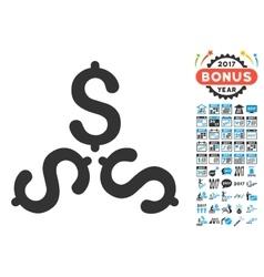 Dollar trinity icon with 2017 year bonus symbols vector