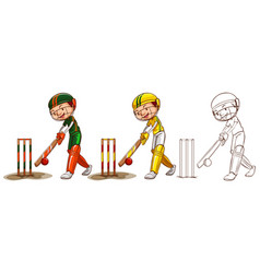 doodle character for cricket players vector image vector image
