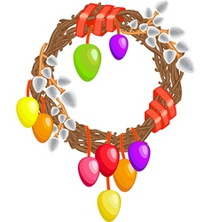 Easter wreath with willows colored eggs and ribbon vector