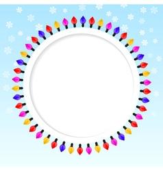 Festive blue background frame of colored lights vector image