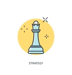 Flat chess lined figure strategy concept vector