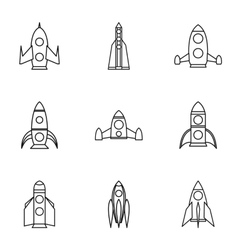 Flight in cosmo icons set outline style vector