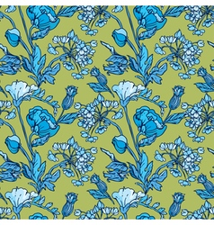 Flowers handdrawn blue 26 380 vector