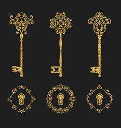 golden glitter vintage keys and keyholes set vector image
