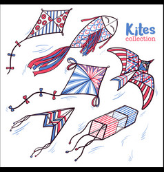 Hand drawn sketch doodle kites hovering in sky vector