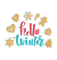 hello december poster card hand drawn vector image vector image