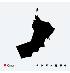 High detailed map of oman with navigation pins vector