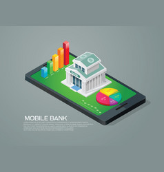 Mobile bank isometric and chart graph vector
