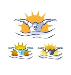 Modern abstract swimming logo vector