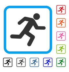 Running man framed icon vector