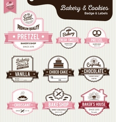 Set of sweet bakery and bread labels design vector image vector image