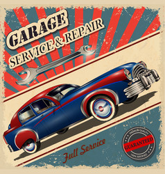 Vintage garage retro poster vector