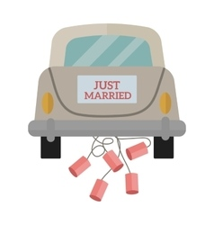 Vintage wedding car with just married sign and vector