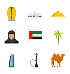 Welcome to emirates icons set flat style vector