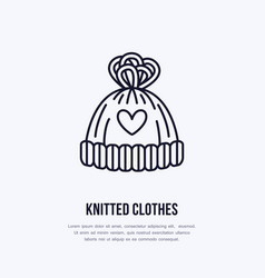 Woolen hat knitted clothing shop vector