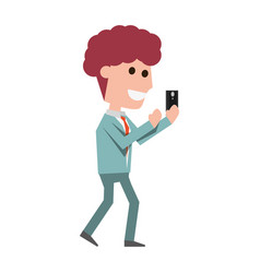 young man with smartphone cartoon vector image