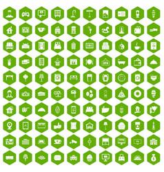 100 hotel icons hexagon green vector